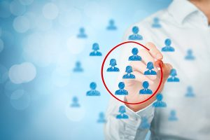 Marketing segmentation target market target audience customers care customer relationship management (CRM) human resources recruit and customer analysis concepts bokeh in background.