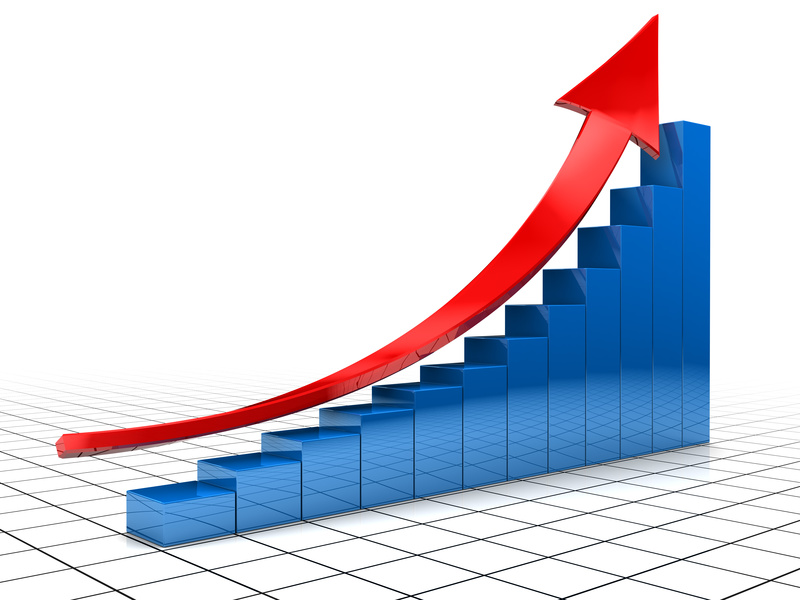 3d illustration of raising charts and red arrow